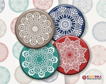 2 inch Round Images CHROCHET SNOWFLAKES Printable Download, Digital Collage Sheet for Pocket Mirrors, Earrings, Rings, Magnets, Paper Weight