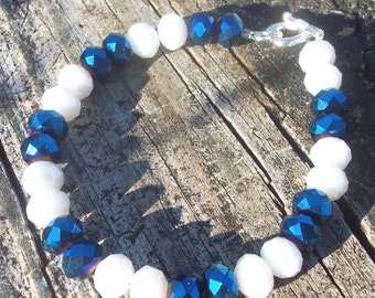 Sapphire and white crystal rondelle beaded bracelet,sparkly crystal bracelet,birthstone bracelet