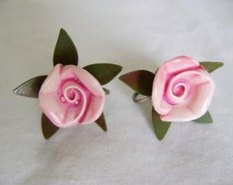 Vintage Polymer Earrings - 1970s Pink Rose Bloom Twist On Style