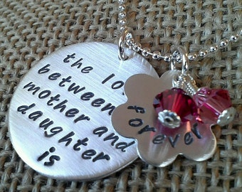 Mother Daughter Necklace, Love Between Mother Daughter Necklace with Swarovski Crystal Charms