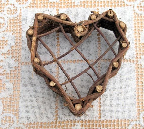 Handmade Heart Basket : Sweet handmade twig heart shaped basket nest by