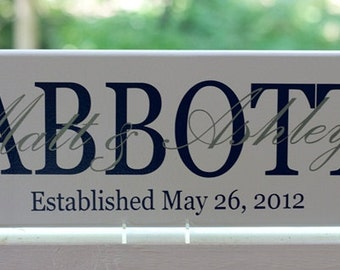 Personalized Wedding Gifts. Wood Sign with Family Last Name and Established Date. Engagement or Anniversary