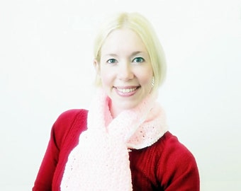 Clearance SALE Crochet scarf  in Pink keyhole with white trim