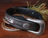 reserved for Brittany...Vintage Leather Western Wrangler Silver Buckle Belt Boho Cowgirl Glamping