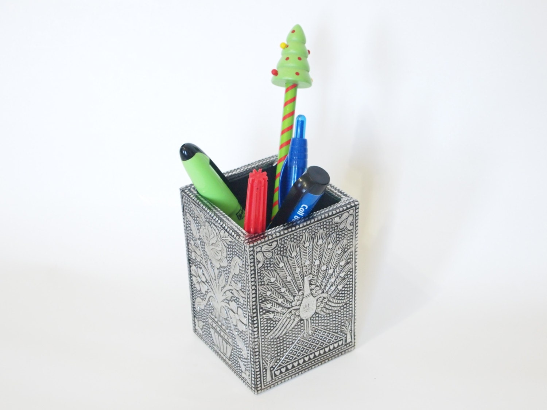 Square Pen Holder Aluminium Crafted Design Pencil By