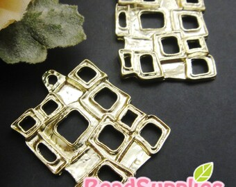 CH-ME-02208 -  Nickel Free, 14k gold plated, Square in square charm, 4 pcs
