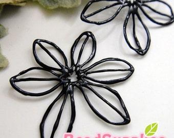 CH-ME-01675,  Nickel Free, black enameled,Big filigree flower charm, 2 pcs  (made in Korea)
