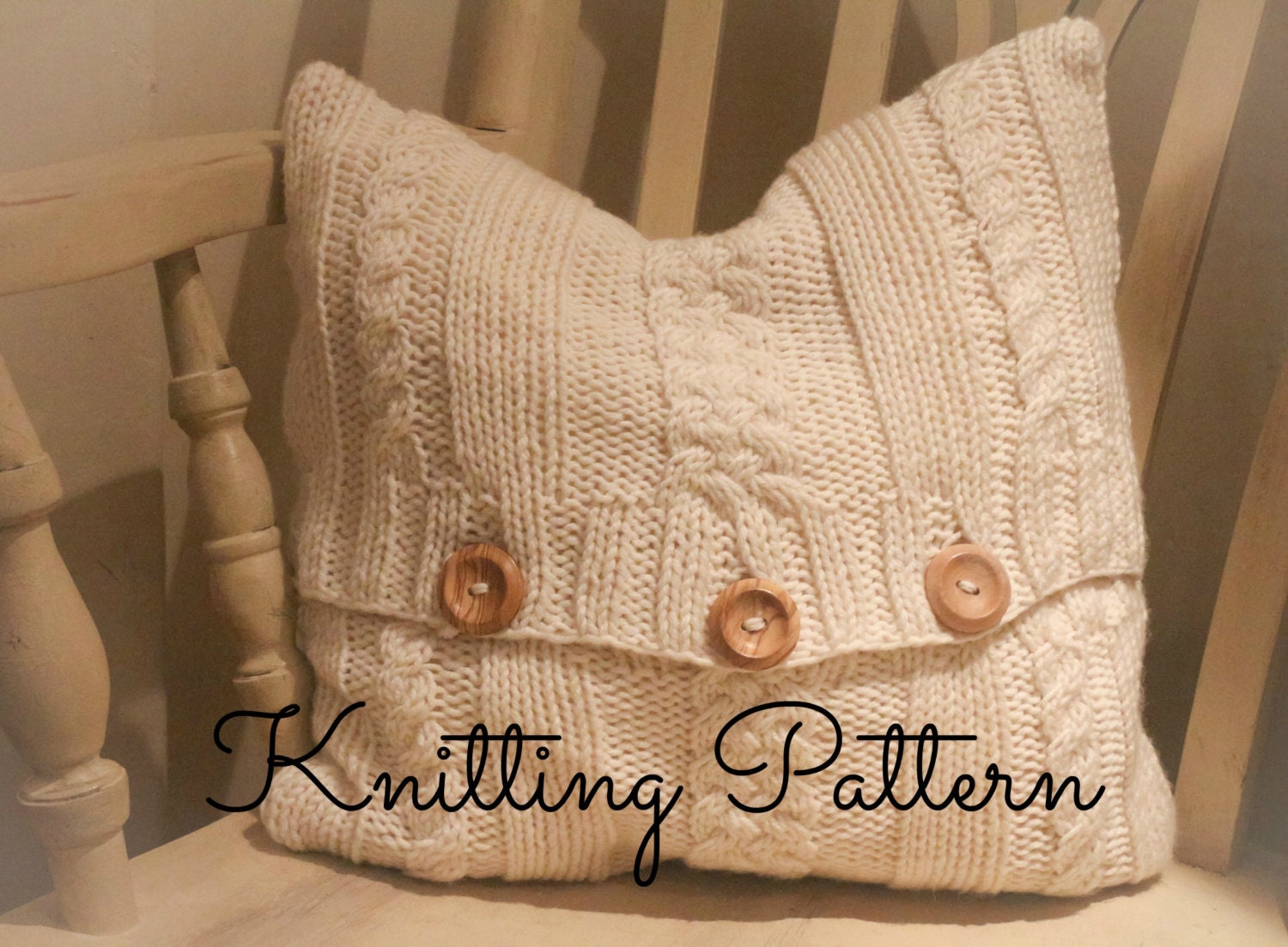 Knitting Pattern/DIY Instructions Maria Chunky Cable Cushion