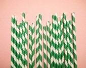 50 Kelly Green and White Striped Paper Drinking Straws with diy flags - No Need to Print - Made in the USA