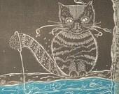 "original linocut, monoprint, of a cat fishing, 9""W x 12""H"
