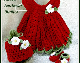Baby Girl's Dress, Hat, Booties  - Strawberry Themed