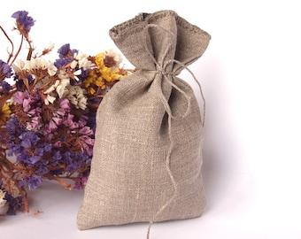 Set of 10 - LINEN GIFT BAGS, Linen Natural Gift Bags - Wedding Favor Bags, Christening Bags