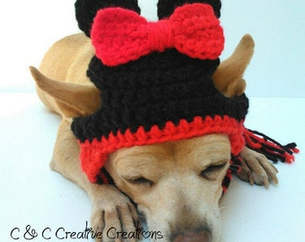 Minnie Mouse or Mickey Mouse Dog Hat