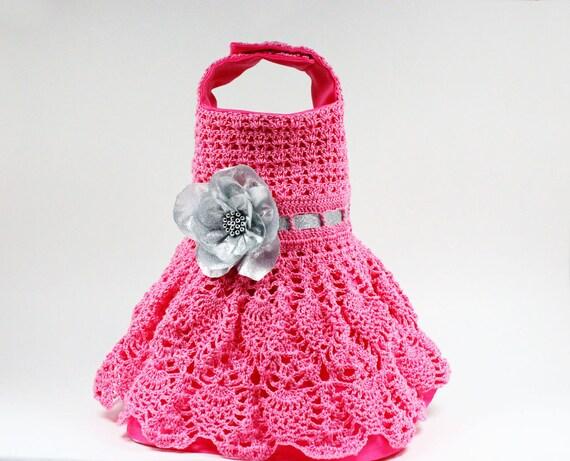 Knitting Pattern Dog Dress : Pink Crochet Dog Dress size Small