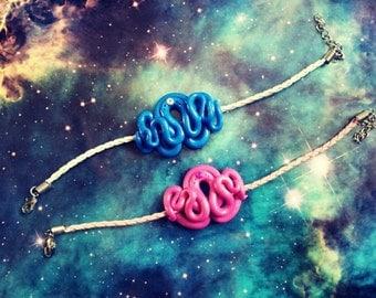 Blue or pink tentacle bracelet