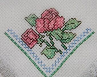Rose Bread Cover Mini - Bread Basket Liner - Gift Basket Liner - Finished Cross Stitch