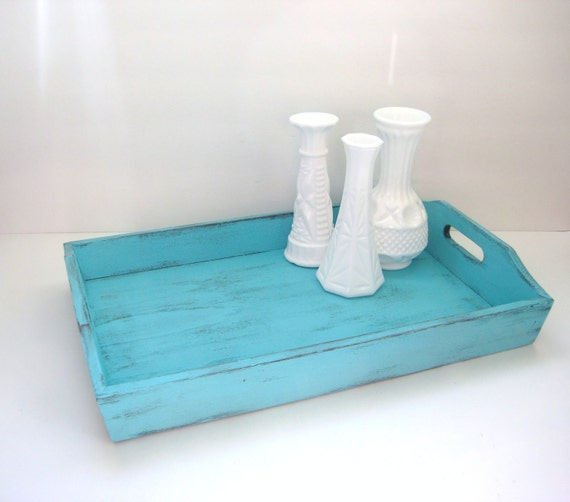 Turquoise Shabby Chic Bedrooms: Turquoise Serving Tray Shabby Chic Turquoise By GreenFoxStudio