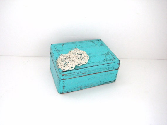 Turquoise Box - Rustic - Shabby Chic Distressed