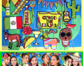 Cinco de Mayo/Mexican Fiesta photo booth props perfect to spice up your fiesta/party or Mexican celebration