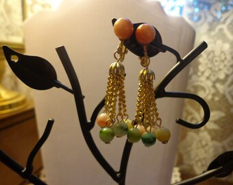 Vintage beaded chain clip earrings
