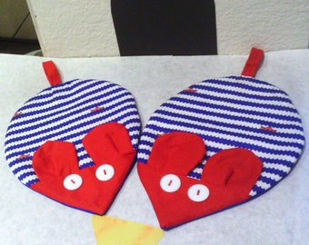 Mouse Potholders, Blue Stripes and Ocean Blue Back with Red Ears and Mouth, Fabric, 4th of July Potholders