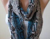 Valentine's Day - Gray and Blue Snake Skin - Circle -  Loop Scarf - Chiffon Fabric