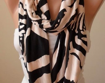 Valentine's Day Gift - Light Salmon and Blak Scarf - Soft Combed Cotton Infinity Scarf