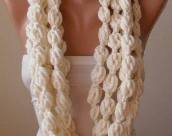 Creamy White Wool Infinity Scarf  - Crochet Scarf