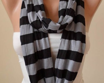 Black and Gray Striped Infinty Scarf  - Circle -  Loop Scarf - Combed Cotton Fabric