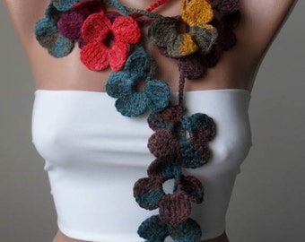 Handknit flowered scarf - colorful scarf