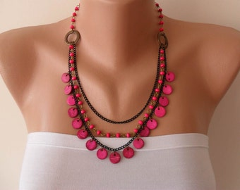 Pink Necklace with Wooden Beads- Speacial Design