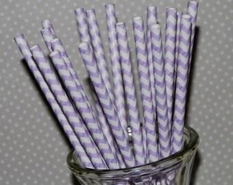 Chevron Straws - Light purple 25 paper straws & Flags - Lavender chevron drinking straws - zig zag cake pop sticks vintage party straws