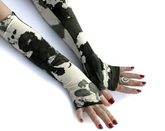 Military, khaki camo, camouflage print fingerless  gloves  -  Arm Warmers, , punk, rock, green, hand warmers