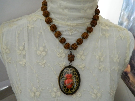 RESERVED for Norma - Statement Necklace Sacred Heart Assemblage