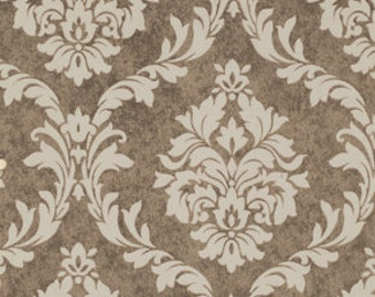 French Damask Mocha:  Pirouette 1 Yard Cut