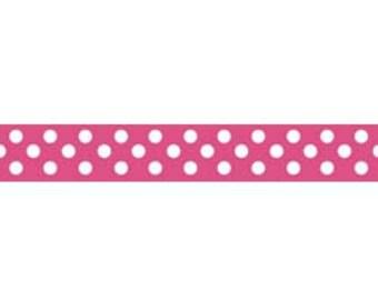 Hot Pink Polka Dot Grosgrain Ribbon 3 Yard Cut