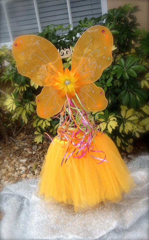 Fairy Princess Wings and Ballet Tutu, Light Orange Tutu, Orange Wings, Halo and Wand Party Favors