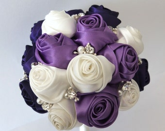 Satin Rose Bouquet, Ribbon Rose bouquet,  Purple & Ivory Flower accented with rhinestone (Large, 8 inch)