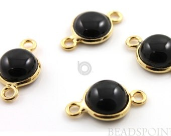 Natural Black Onyx Bezel Round Component, Gold Vermeil , Black Beauty 18x10mm, 1 Peice, (BXR001-A)