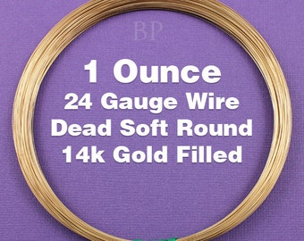 14K Gold Filled, 24 Gauge, Dead Soft Round Wire,  Wrapping Wire, 1 FULL OUNCE  (Approx. 56.50 Feet )