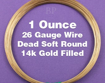 14K Gold Filled, 26 Gauge, Dead Soft Round Wire,  Wrapping Wire, 1 FULL OUNCE  (Approx. 90 Feet )