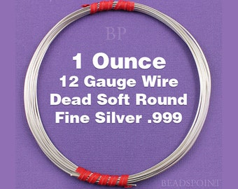 Fine Silver .999 12 Gauge Dead Soft Round Wire on Coil, Pure Silver Wrapping Wire, 1 Full Ounce (Approx. 3 Feet ) FS-W12/DS