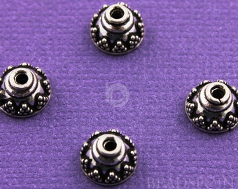 Bali Sterling Silver 8mm Bead Cap, Lovely Granulation Beading Detail, Oxidized, Ethnic Tribal Accent for Handmade Jewelry, (6 Pieces) BA5281