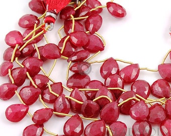 Ruby Briolettes, Natural Ruby Beads, Ruby Beads, Ruby Beads, Rubies, Faceted drops Briolettes, July Birthstone, 2 Pieces (2RBY10x13FPEAR)