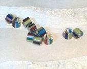 Destash Cane Glass Beads Drum Barrel Primary Colors Multicolor