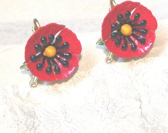 Vintage Poppy Clipon Earrings Bright Red Yellow Black Mid Century 1950s Estate Jewelry