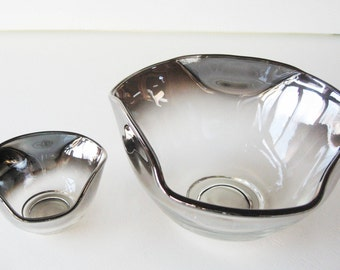 Chip and Dip Bowl, Silver Ombre Bowl, Mad Men Style, Dorothy Thorpe Style