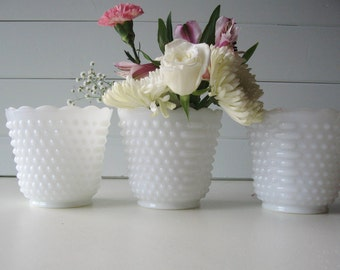 Hobnail Milk Glass, Hobnail Planters, Vase, Wedding decor, Tablesetting, Set of 3 large Milk Glass Bowls