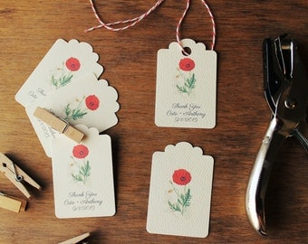 Favor Tags Gift Tags Poppy Rustic Wedding Botanical Wedding