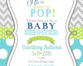 Boys Baby Shower Invitations Digital or printable file- ready to POP